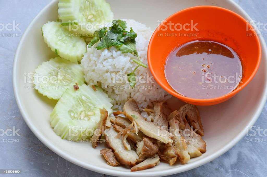 vegetarian rice steamed with chicken made from gluten stock photo