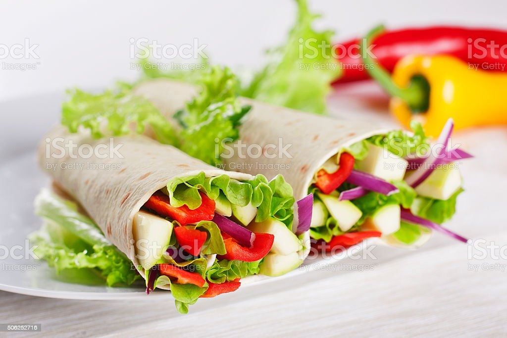 Vegetarian Salad Tortilla wraps stock photo