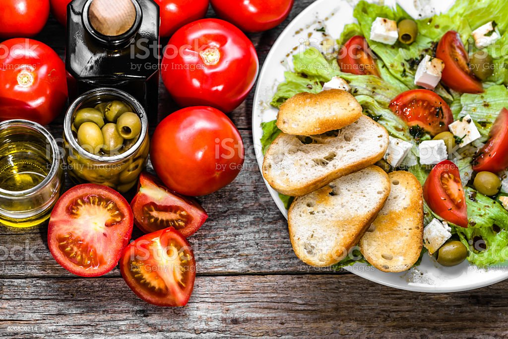 Vegetarian salad, vegetable greek salads, top view stock photo