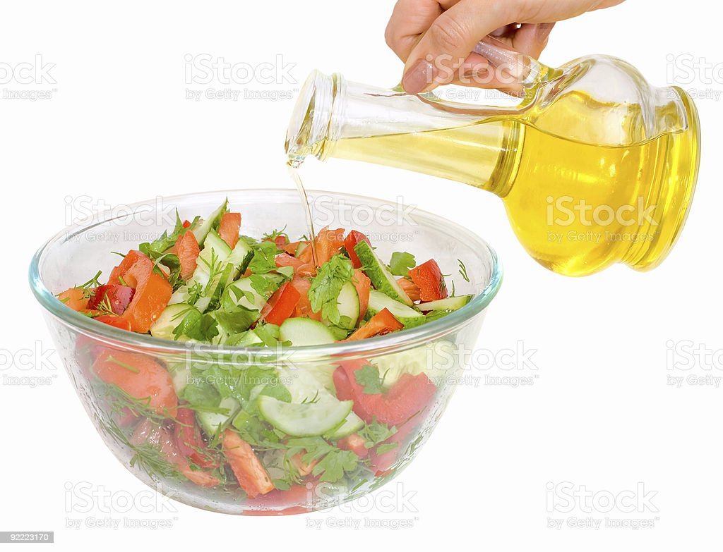 Vegetarian salad with plant oil royalty-free stock photo