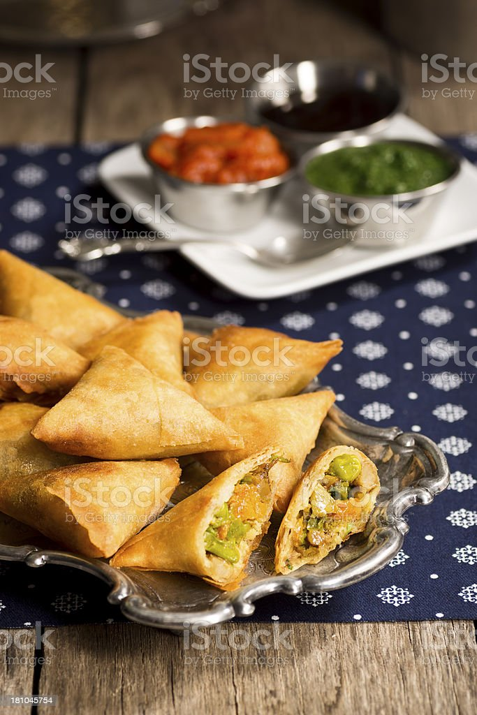 Vegetarian Samosas with Dipping Sauces royalty-free stock photo