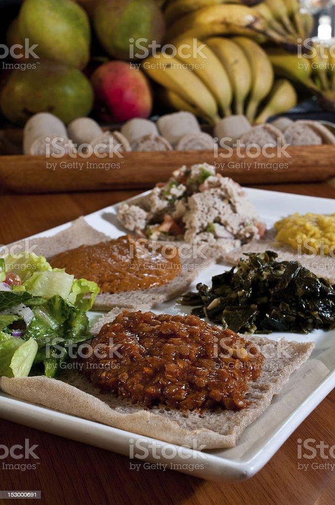 vegetarian sampler plate stock photo