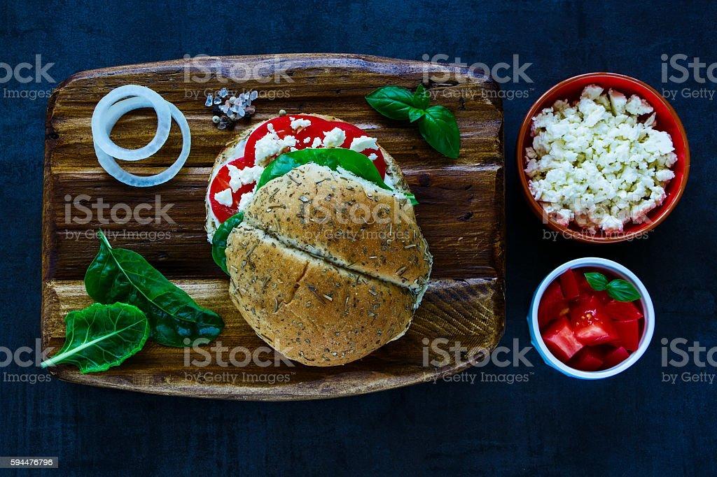 Vegetarian sandwich with feta cheese stock photo