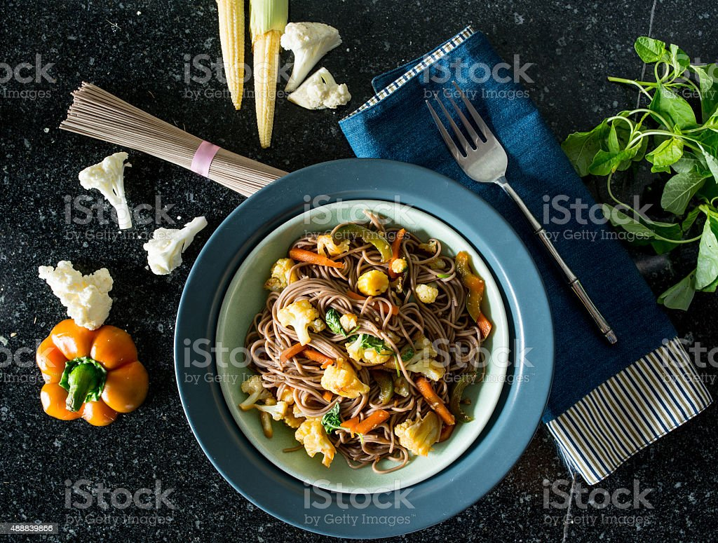 Vegetarian soba stock photo