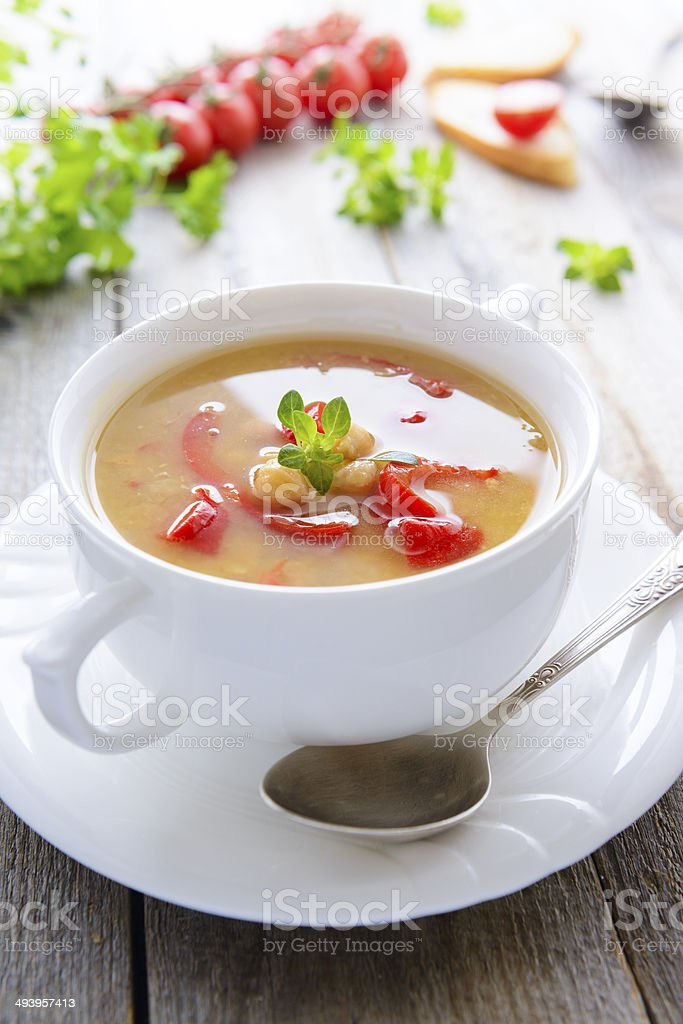 Vegetarian soup from chickpea and vegetables stock photo