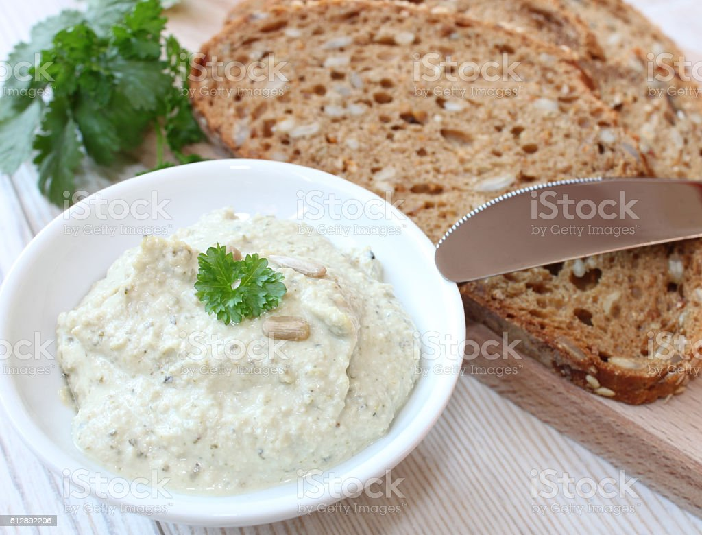 vegetarian spread with herbs and seeds stock photo
