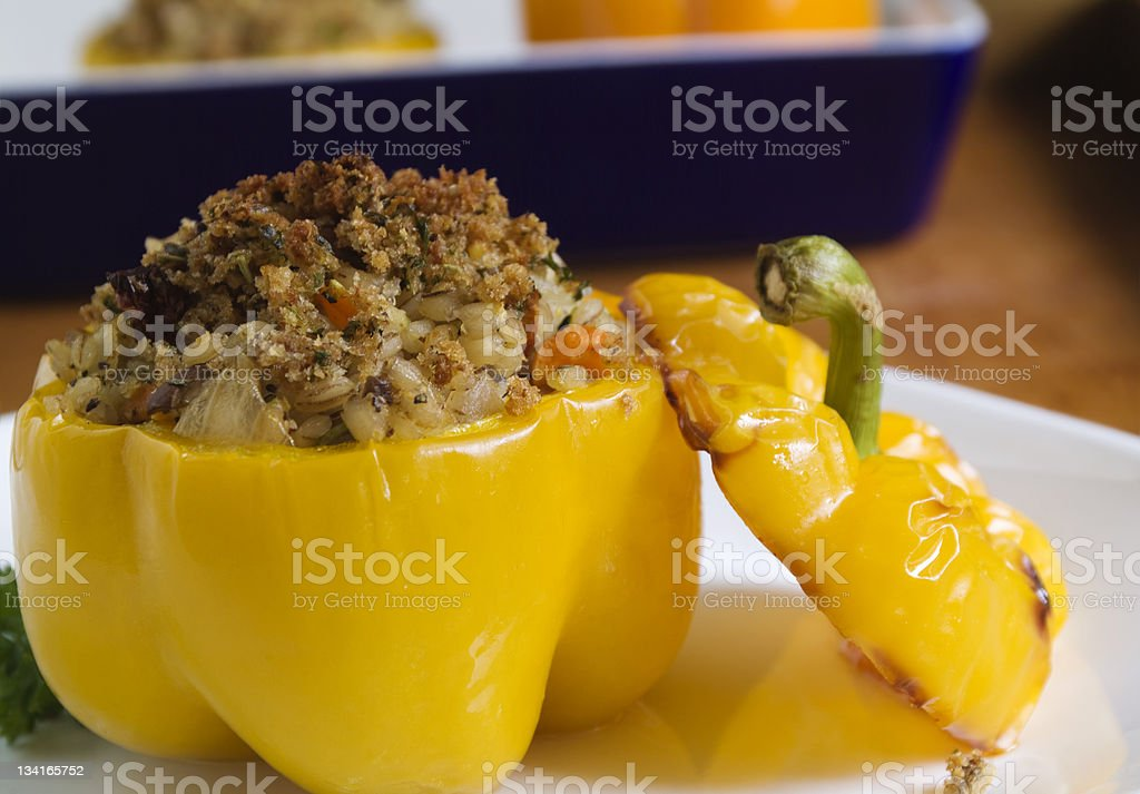 Vegetarian Stuffed Bell Pepper royalty-free stock photo