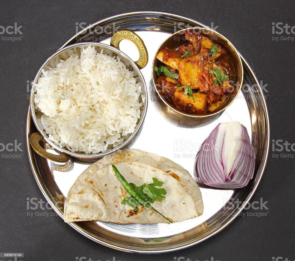 Vegetarian Thali stock photo