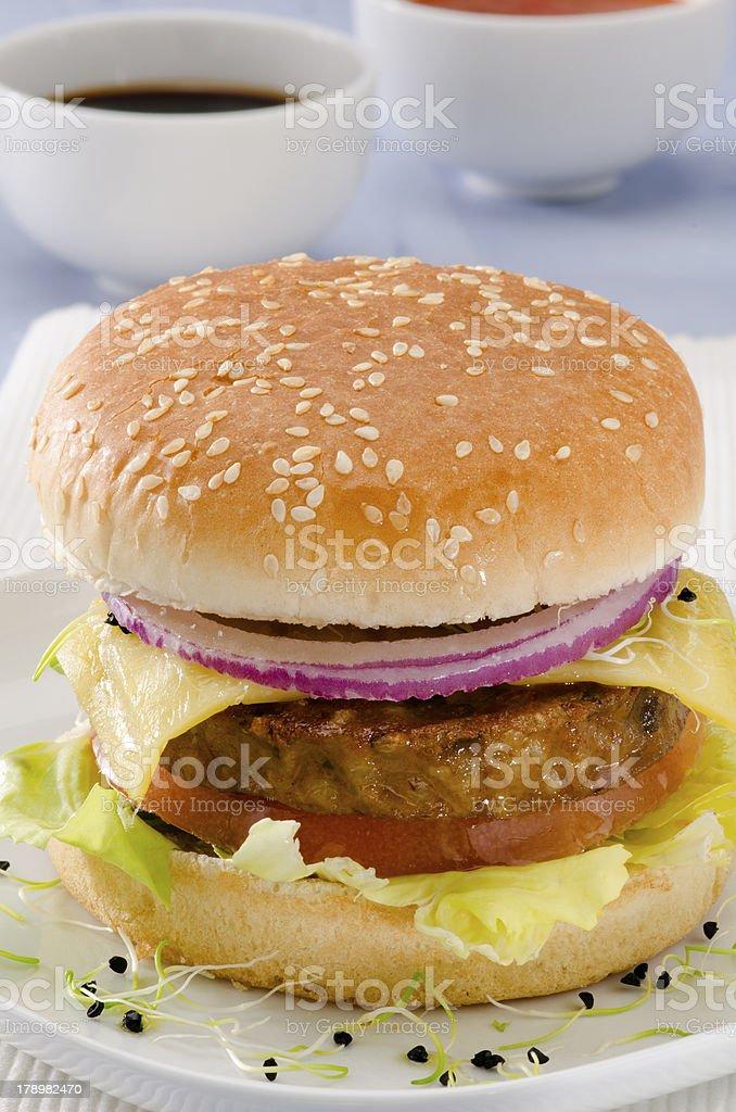 Vegetarian tofu cheeseburger. royalty-free stock photo