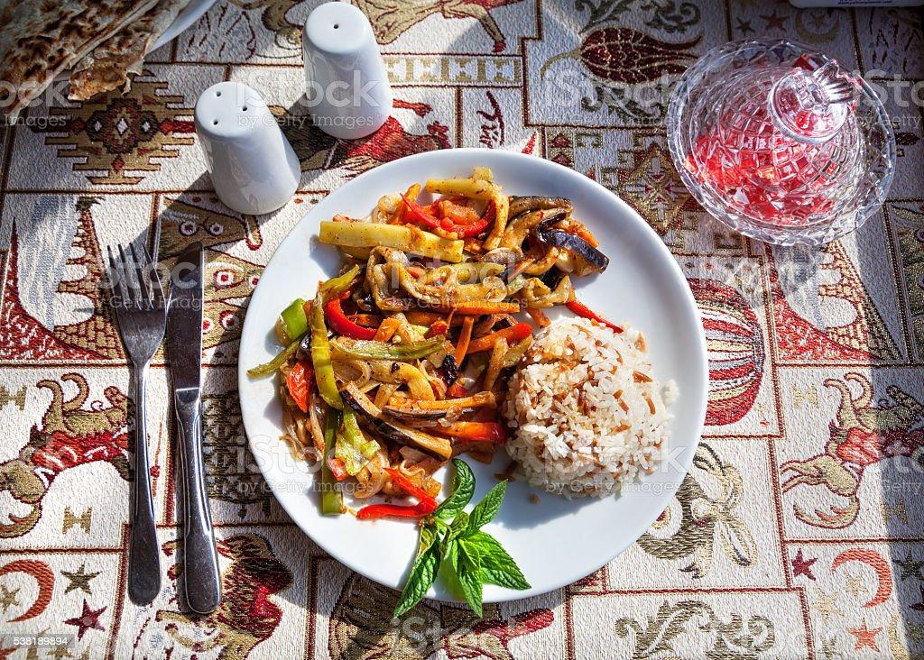 Vegetarian Turkish meal stock photo