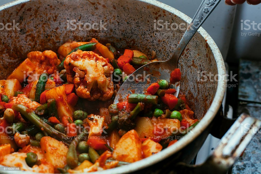 Vegetarian vegetable stew in tomato sauce, cooked pot stock photo