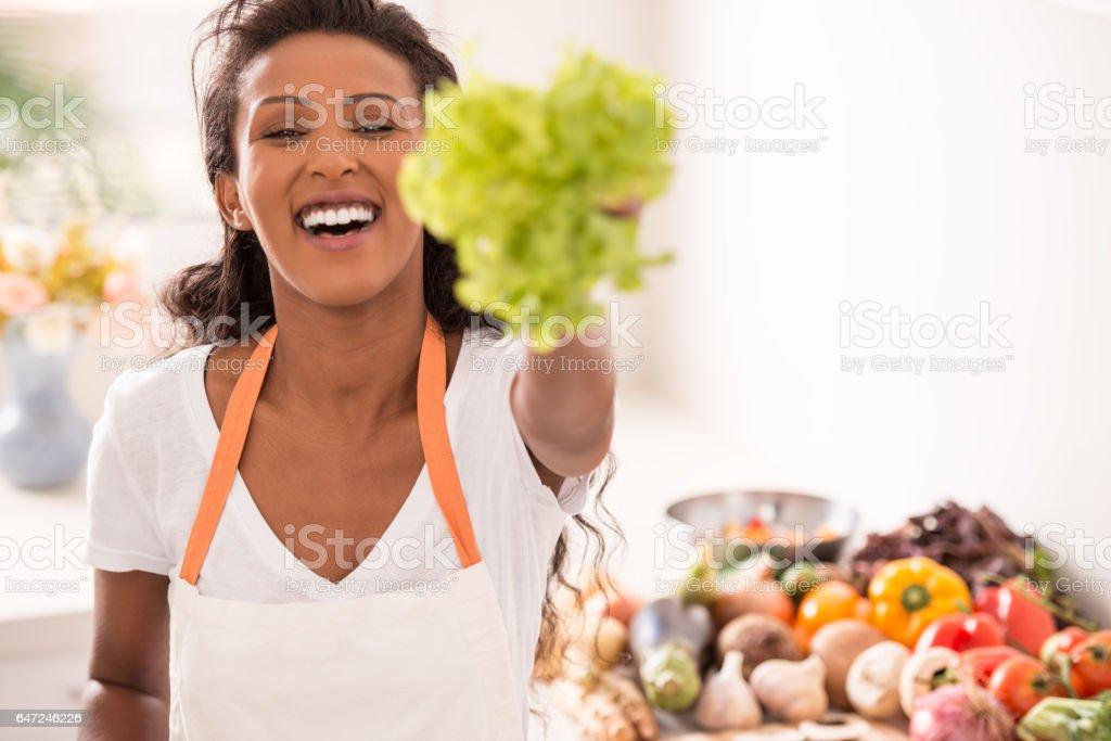 Vegetarian women. stock photo
