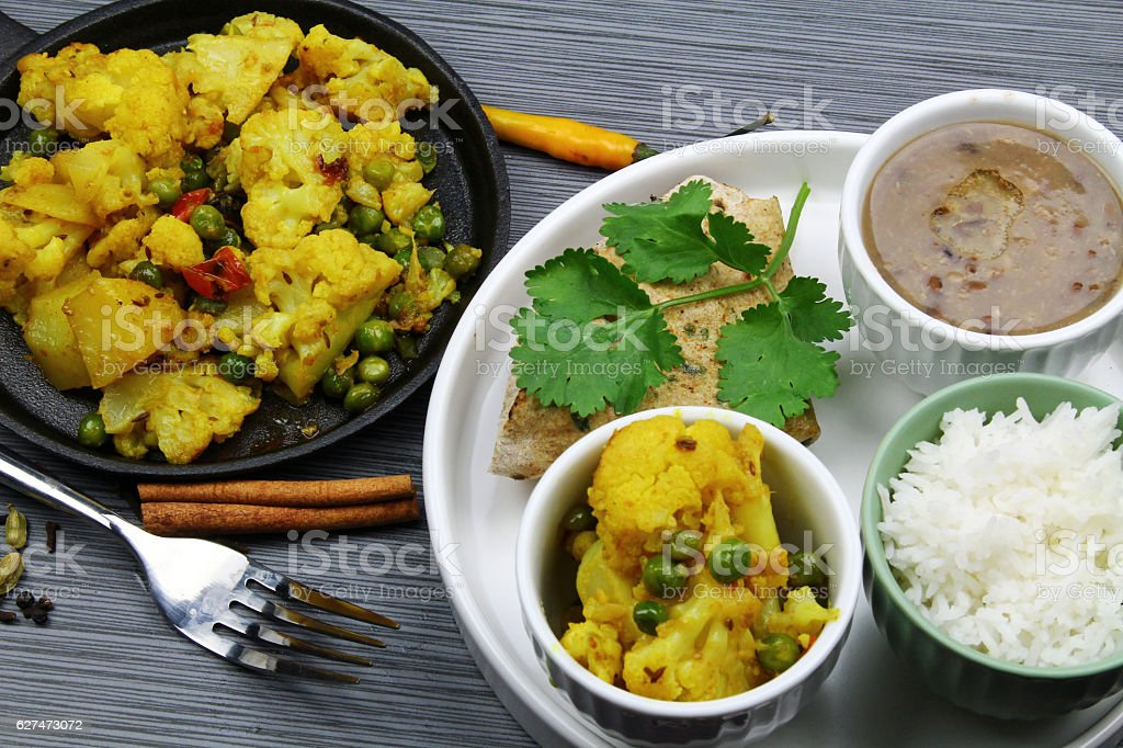 Vegetarnian Indian platter stock photo