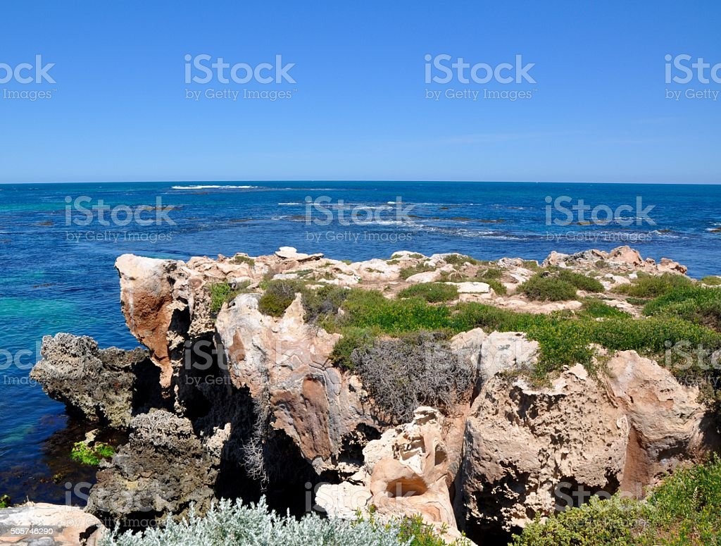 Vegetated Limestone Coast: Cape Peron, Western Australia stock photo