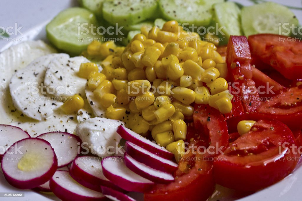 Vegeterian Fresh salad.A colorful and easy fresh recipe: royalty-free stock photo