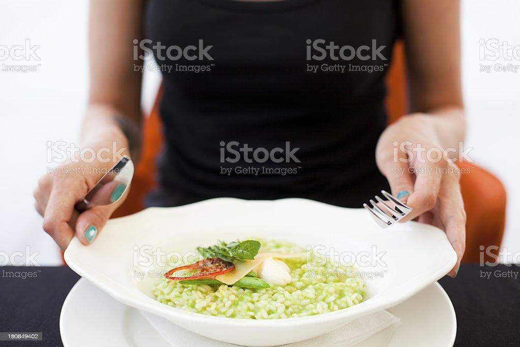 Vegeterian Green Pea Risotto stock photo