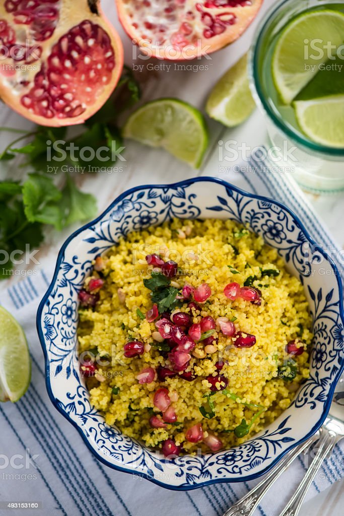 Vegeterian healthy salad, overhead view stock photo