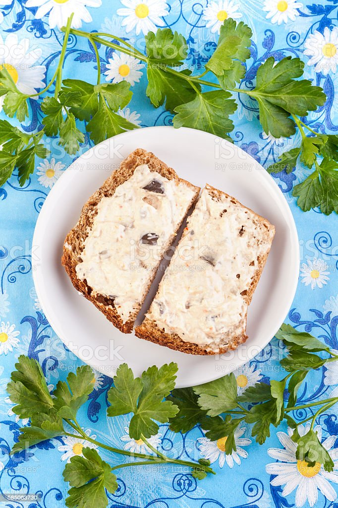 Vegeterian Sandwich with parsley stock photo