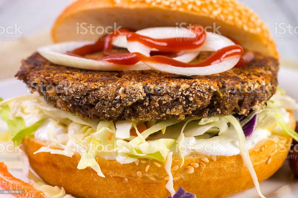 Veggie Burger on Bun stock photo