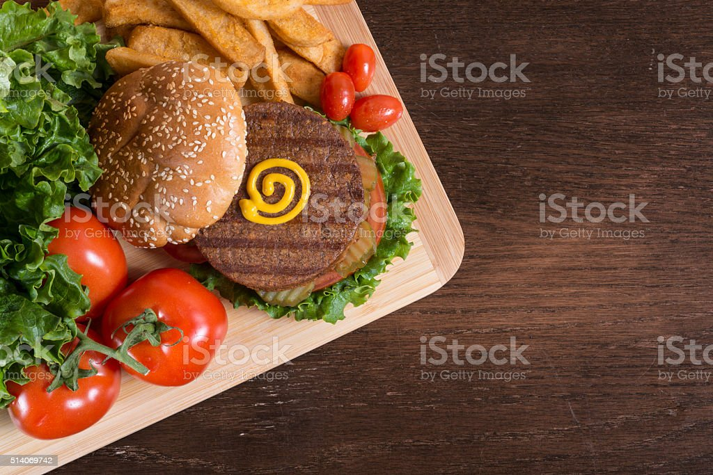 Veggie Burger with Fries stock photo