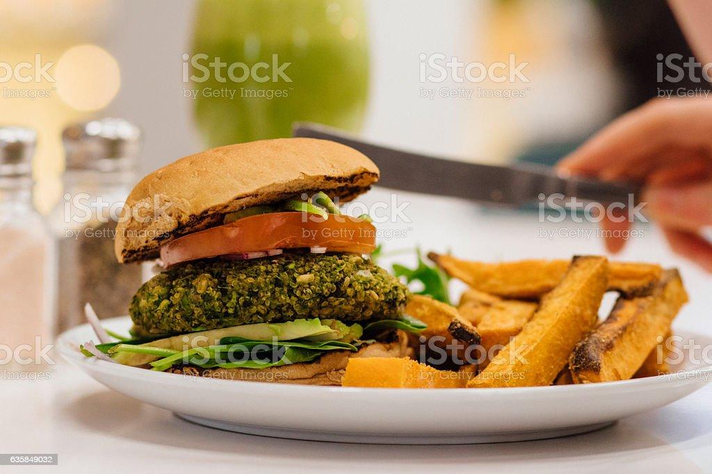 Veggie Burger with Sweet Potato Fries stock photo