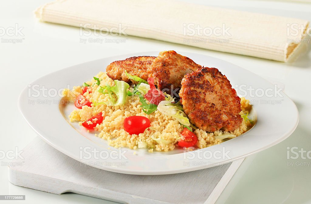 Veggie burgers with couscous royalty-free stock photo