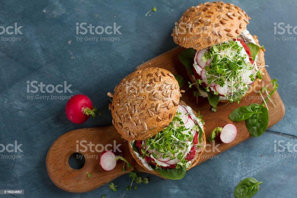 Veggie couscous beet burgers stock photo