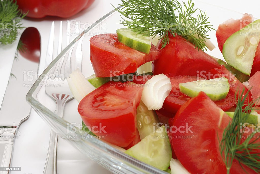 Veggie salad decorated with dill stock photo
