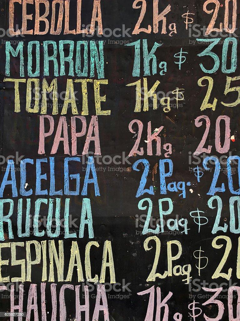 Veggies prices stock photo
