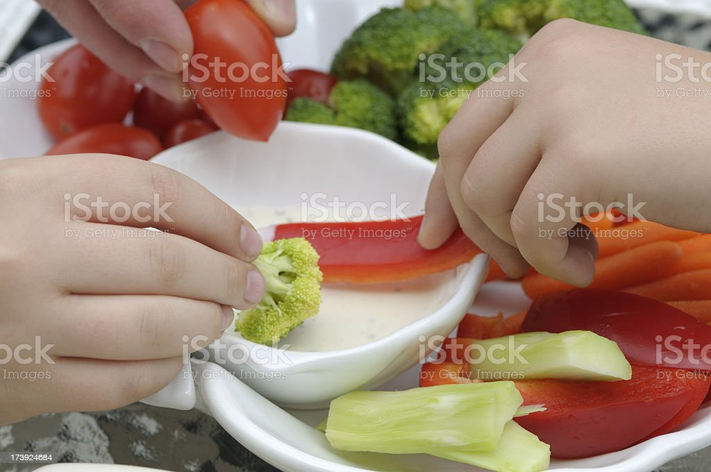 Veggy and dip - healthy snack stock photo