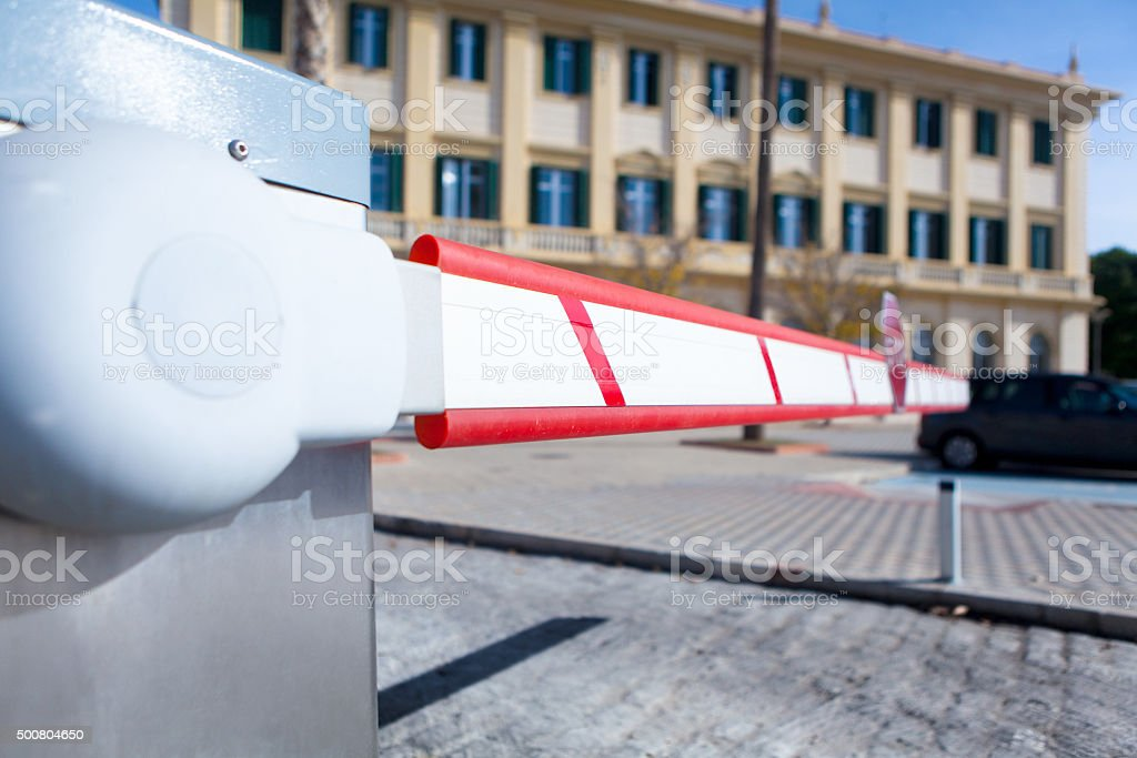 Vehicle access barrier. stock photo