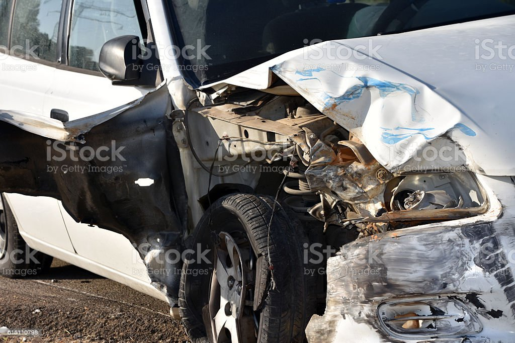vehicle after a car accident stock photo