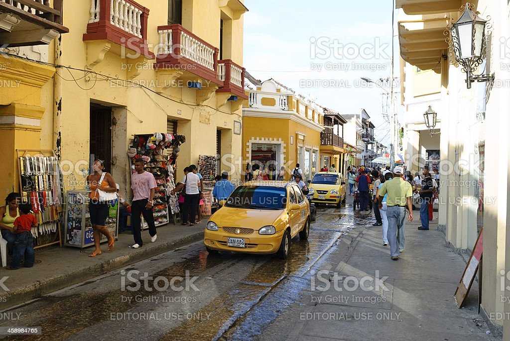 City street in Cartagena, Colombia stock photo