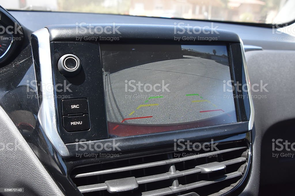 Vehicle back up camera display in the dashboard stock photo