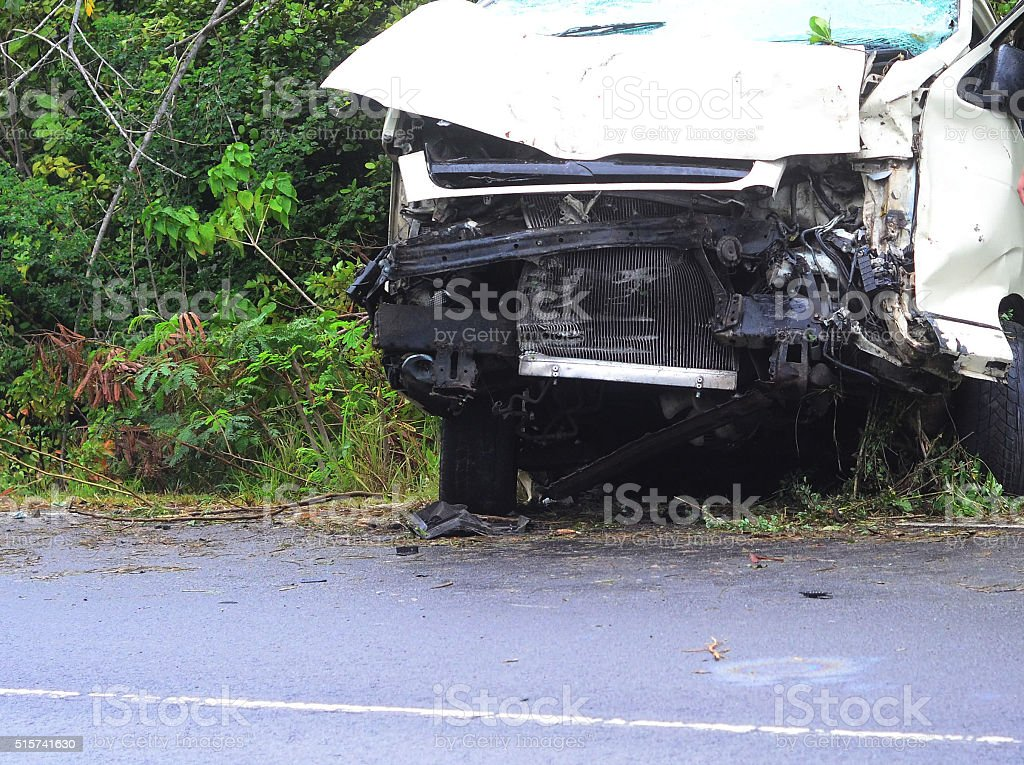 vehicle badly damaged beyond repair in accident stock photo