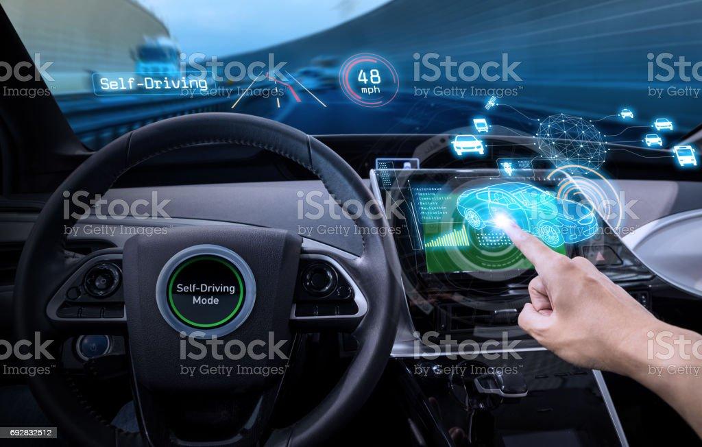 vehicle cockpit and screen, car electronics, automotive technology, autonomous car, abstract image visual stock photo