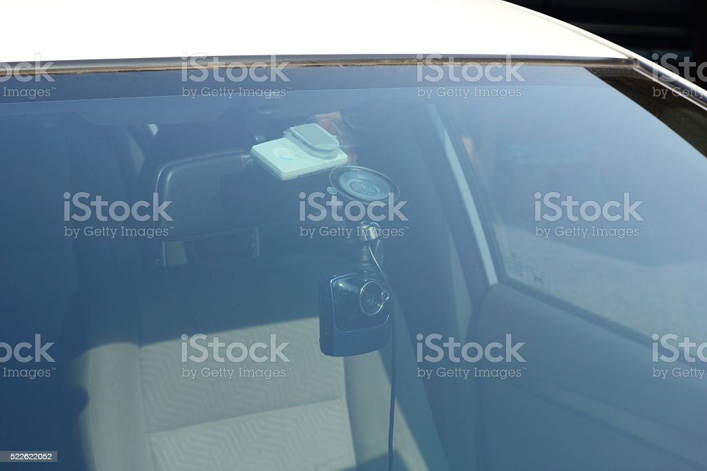 Vehicle DVR on glass of car stock photo