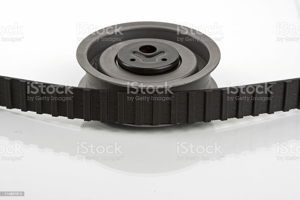 Vehicle Engine Cam Belt And Tensioner Pulley royalty-free stock photo