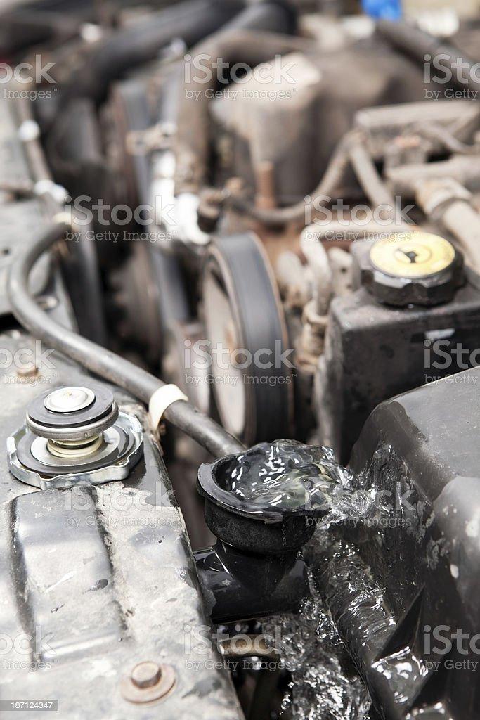 Vehicle Engine Radiator Backflushing with Water stock photo