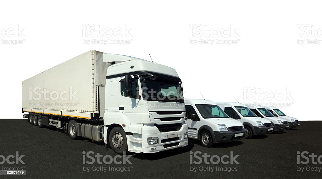 Vehicle fleet for delivery and cargo stock photo