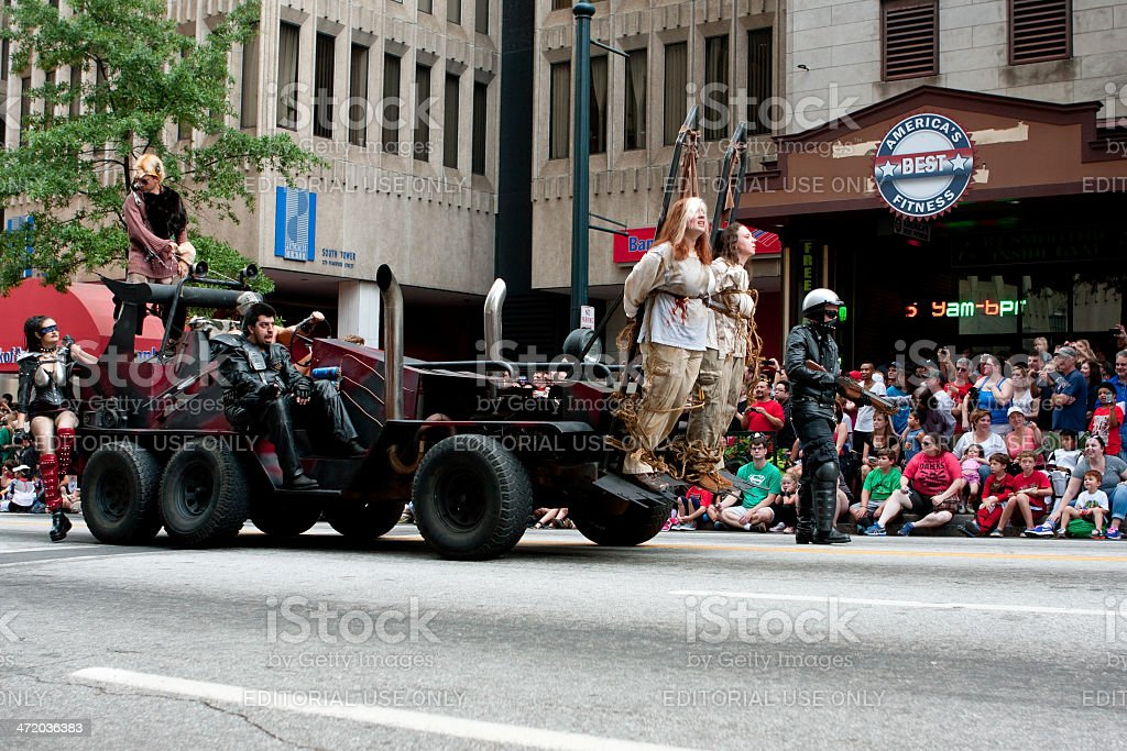 Vehicle From Road Warrior Movie Moves Through Dragon Con Parade stock photo