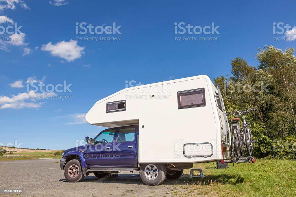 RV vehicle in a parking lot stock photo