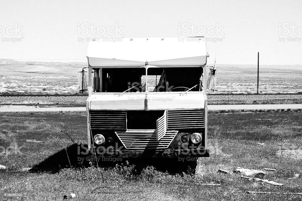 Vehicle in abandoned town. Cisco, Utah. stock photo