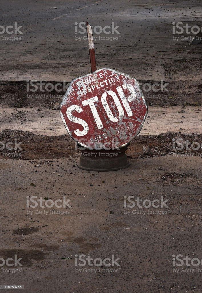 Vehicle Inspection STOP sign in Kigali, Rwanda stock photo