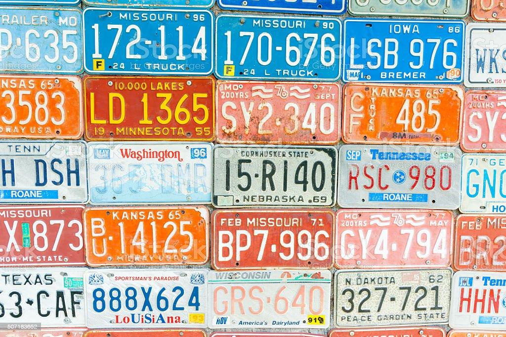 Vehicle licence plates stock photo