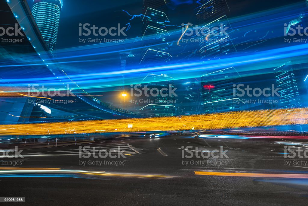 vehicle light trails at city road stock photo