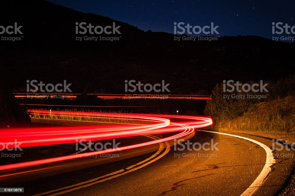 Vehicle Light Trails On Highway 89 In Prescott National Forest royalty-free stock photo