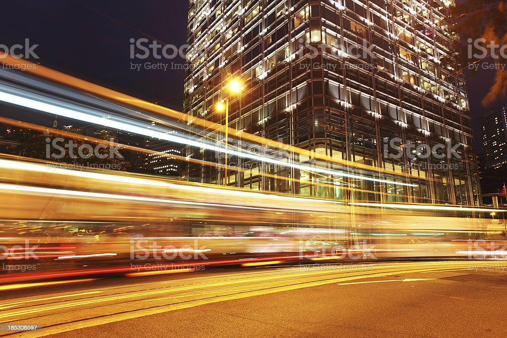 Vehicle Lights in City stock photo