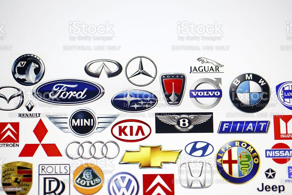 Vehicle manufacturer logos stock photo