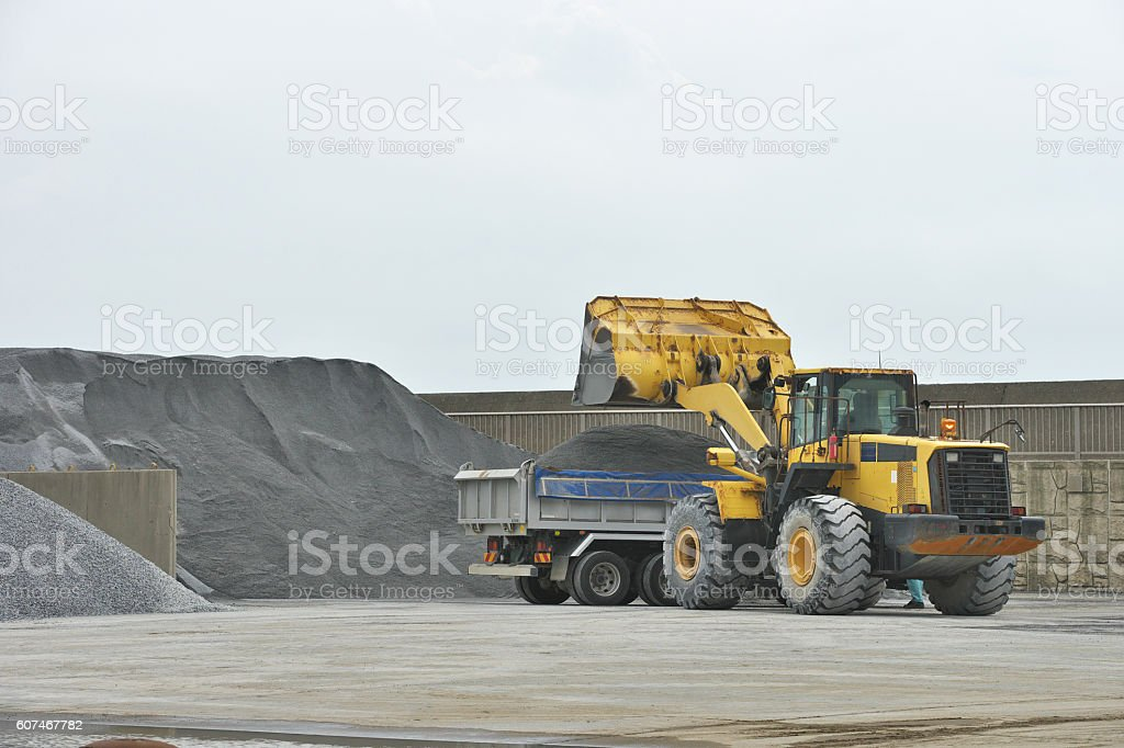 Vehicle of the building material depot stock photo